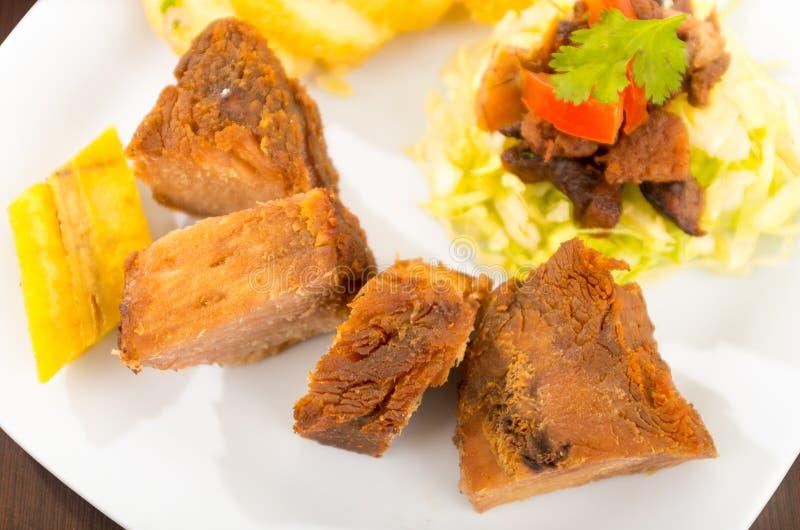 Fritada a fait frire la nourriture traditionnelle d'ecuadorian de porc image stock