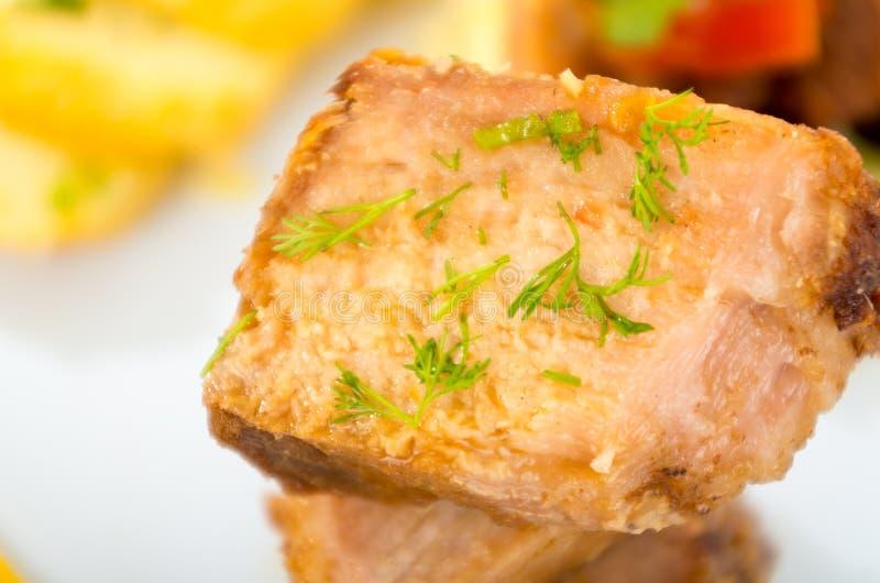Fritada frió la comida tradicional del ecuadorian del cerdo imagen de archivo