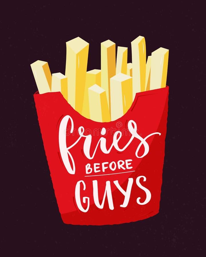 Fritadas antes dos indivíduos Slogan do feminismo Citações engraçadas feministas com batatas fritas e caligrafia moderna Projeto  ilustração stock