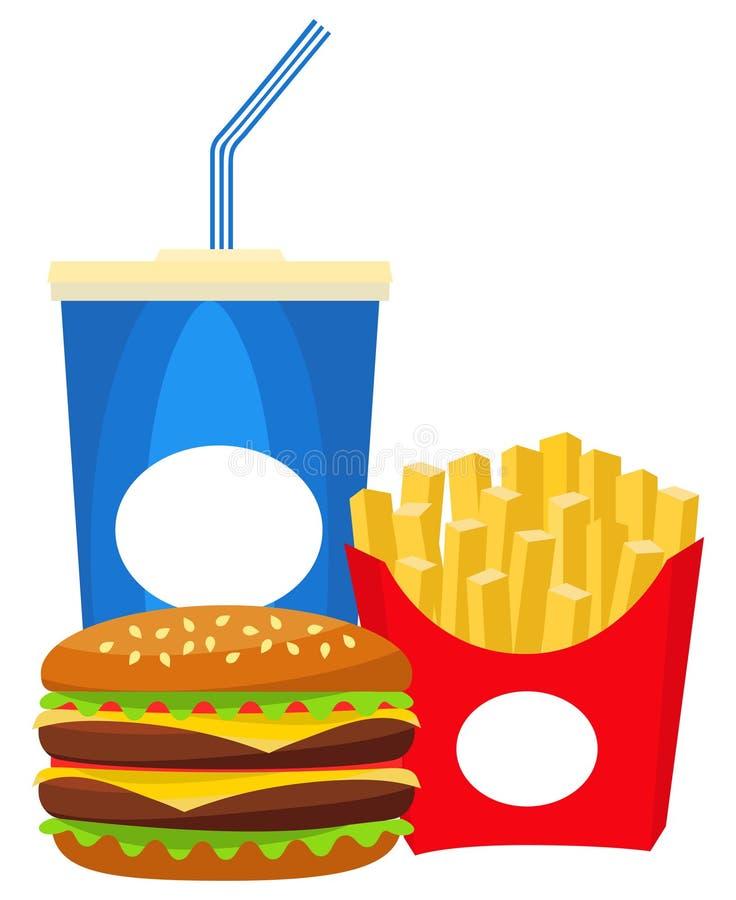 Fritadas coloridas do hamburguer da soda do fast food do cartaz ilustração stock