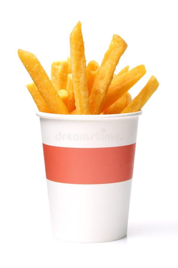 Fritadas do francês na caixa branca foto de stock
