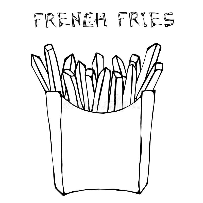 Fritadas do francês na caixa de papel Fried Potato Fast Food em um pacote Ilustração do vetor isolada em um fundo branco ilustração royalty free