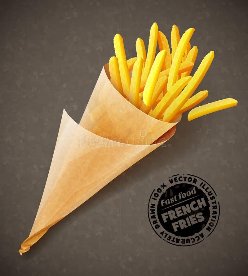 Fritadas do francês no saco de papel ilustração do vetor