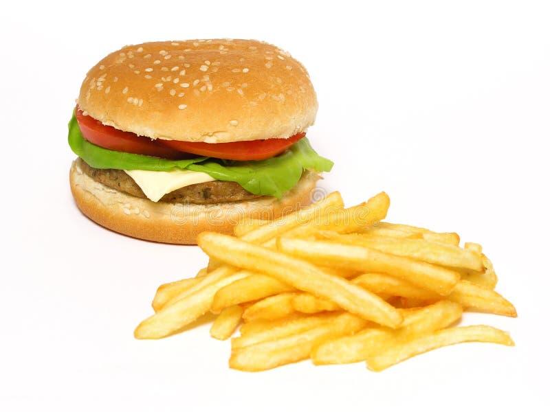 Fritadas do Hamburger e do francês fotos de stock royalty free