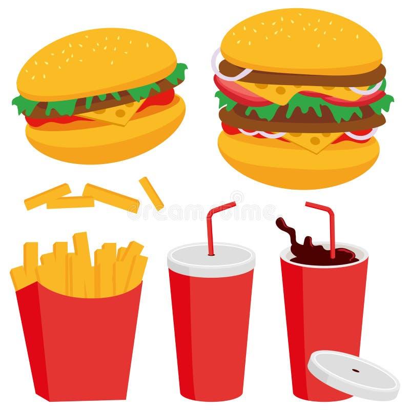 Fritadas e bebida do hamburguer ilustração royalty free