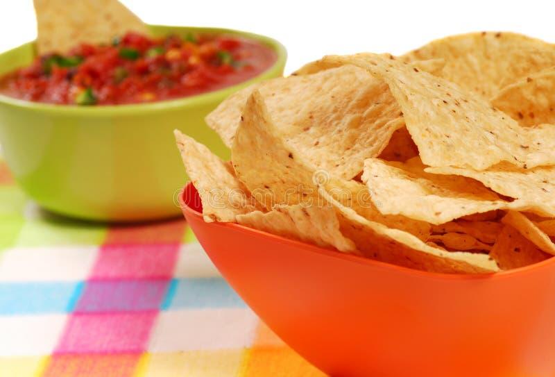 Frites et Salsa de tortilla image libre de droits