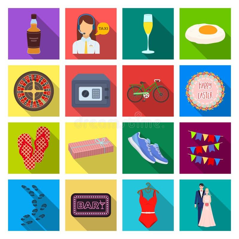 Fritid, handel, lopp och annan rengöringsduksymbol i plan stil vektor illustrationer