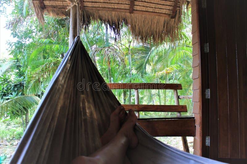 Fritid i en hängmatta, bungalower i Topeka, Koh Chang royaltyfria bilder