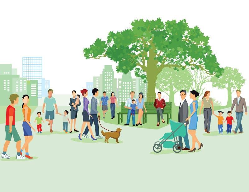 Fritid med familjen i staden royaltyfri illustrationer