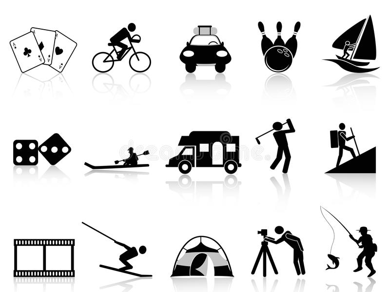 Fritid- och rekreationsymbolsuppsättning vektor illustrationer