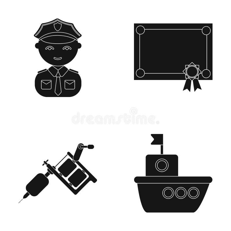Fritid, yrke, turism och annan rengöringsduksymbol i svart stil , hav, ångare, fartygsymboler i uppsättningsamling vektor illustrationer