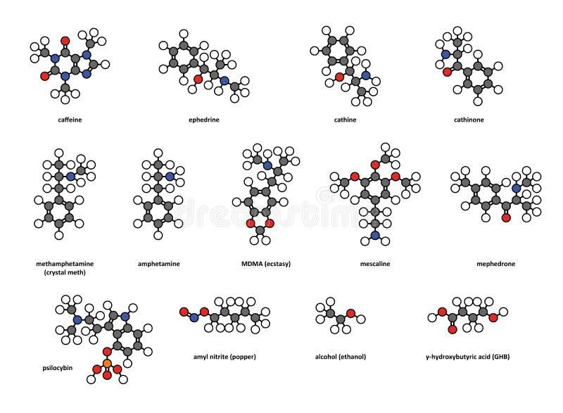 Fritids- droger: koffein ephedrine, cathine,  royaltyfri illustrationer