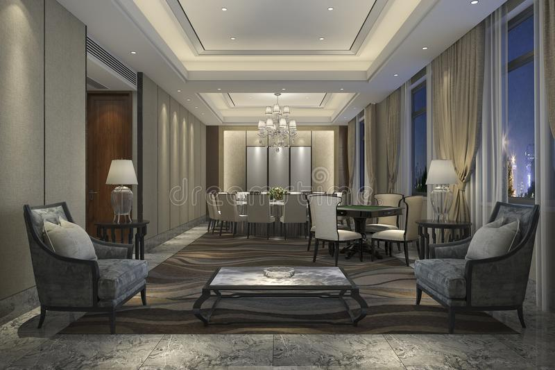 fritidvardagsrum för tolkning 3d och lobbyhotell för möte royaltyfri illustrationer