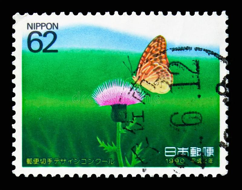 Fritillary (Butterfly) on Thistle, The 1st Stamp Design Competition Winners serie, circa 1990 stock photo
