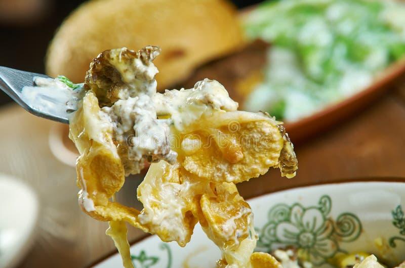 Frito Taco Casserole. Chill Cheese  Frito Taco Casserole, Mexican food stock photo