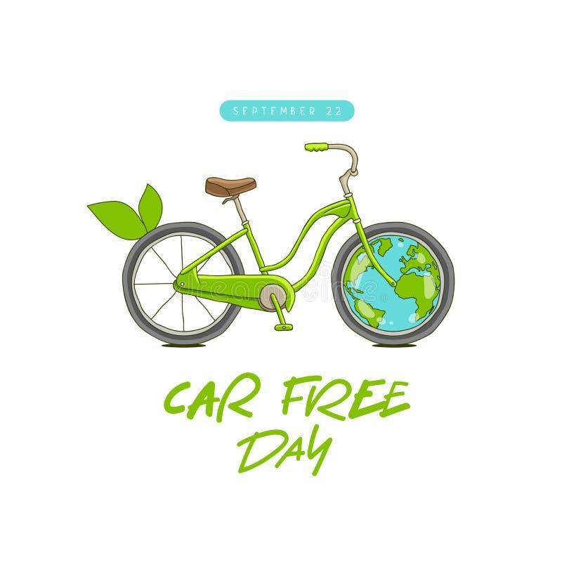Fritt dagbegrepp för bil Sepember 22 Cykel och jord royaltyfri illustrationer
