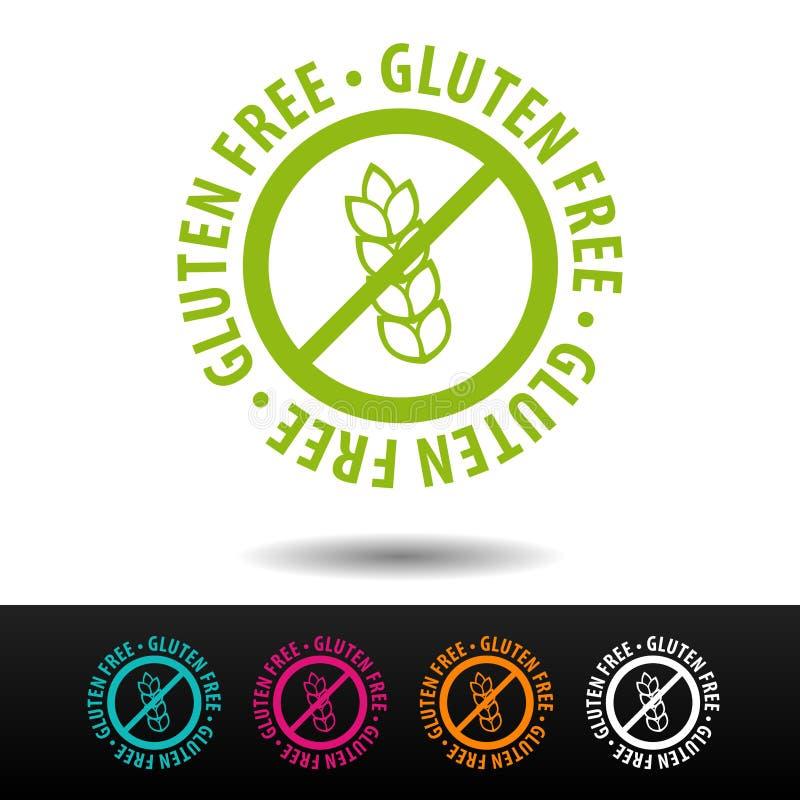 Fritt emblem för gluten, logo, symbol Plan vektorillustration på vit bakgrund Vara kan det använda affärsföretaget vektor illustrationer