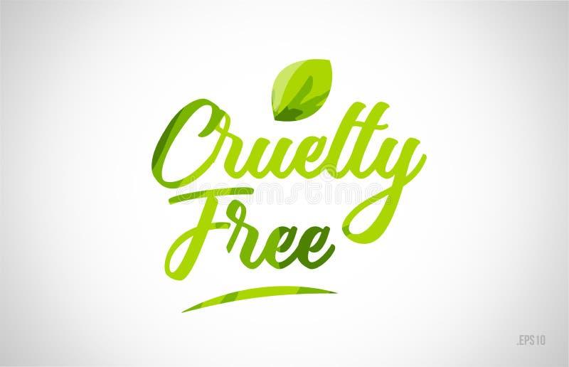 fritt grönt bladord för grymhet på vit bakgrund stock illustrationer
