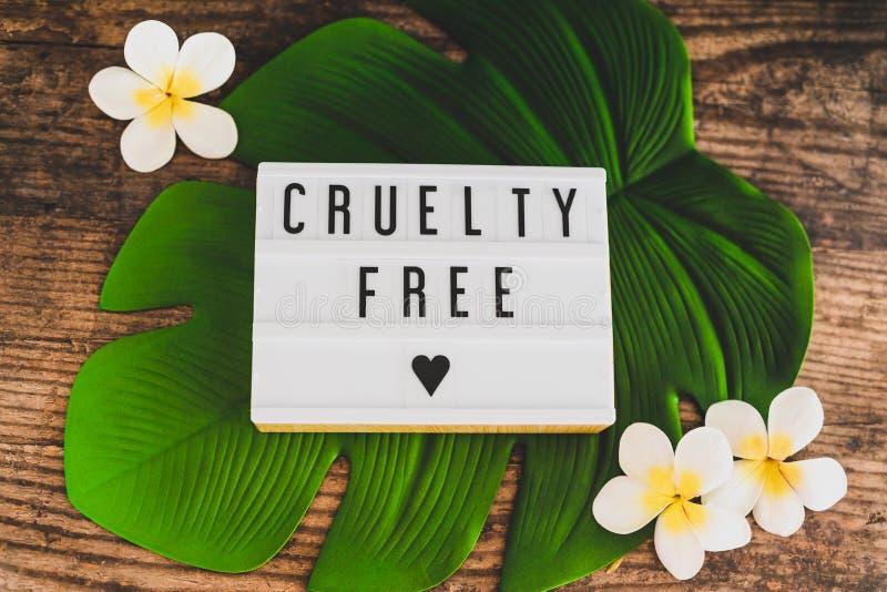 Fritt meddelande för grymhet på lightboxstrikt vegetarianprodukter och etik royaltyfria foton