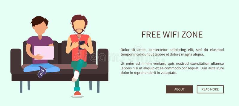 Fritt rengöringsdukbaner för zon Wi-Fi med att sitta för två män stock illustrationer