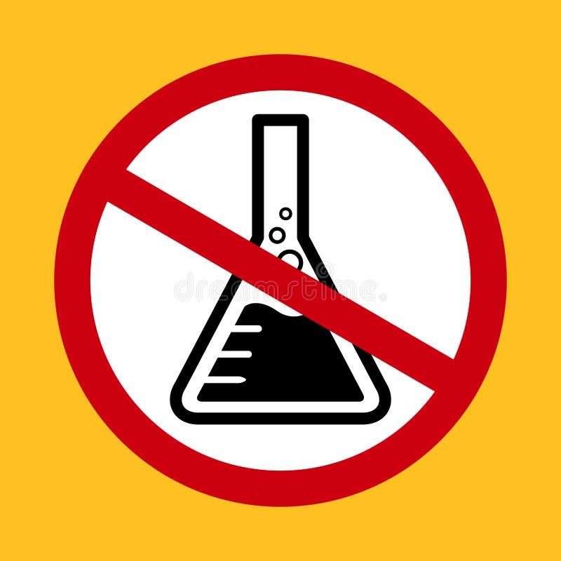 Fritt symbol för kemikalieer, säkerhet för varnande tecken för farakemikalieer kemisk, fri symbol för kvicksilver i rött ko vektor illustrationer