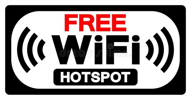 Fritt tecken för WiFi Hotspotsymbol, vektorillustration, isolat på den vita bakgrundsetiketten EPS10 stock illustrationer