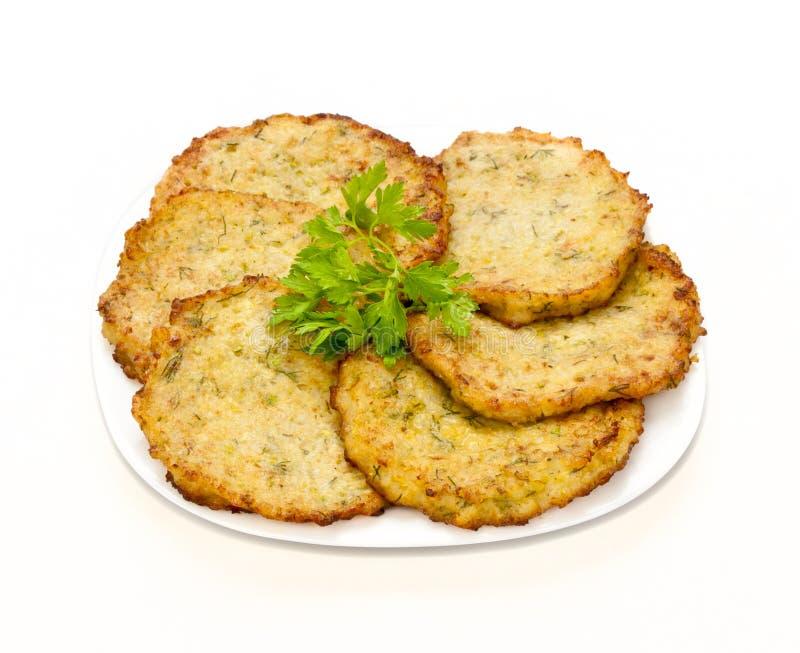 Fritters από τα φυτικά κολοκύθια στοκ εικόνα