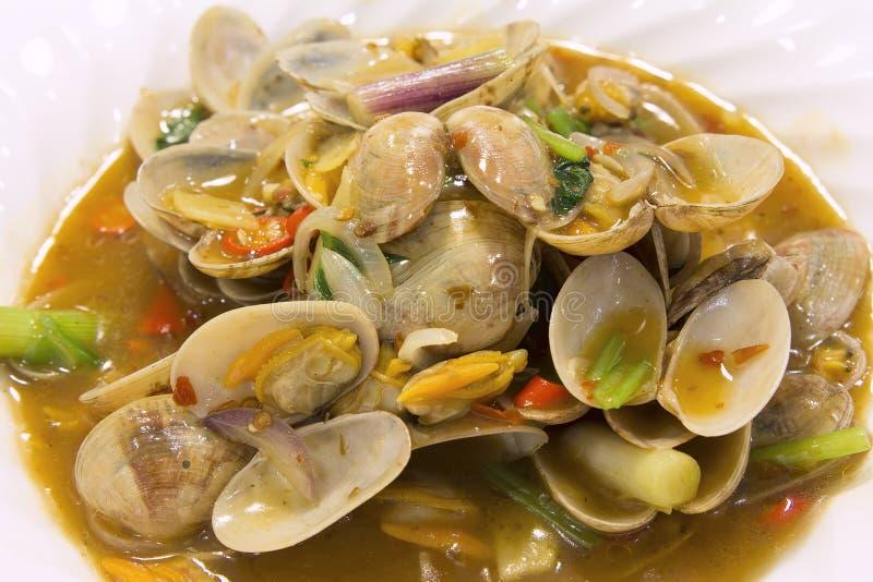 Frittura cinese di Stir con il primo piano 2 dei molluschi fotografia stock libera da diritti
