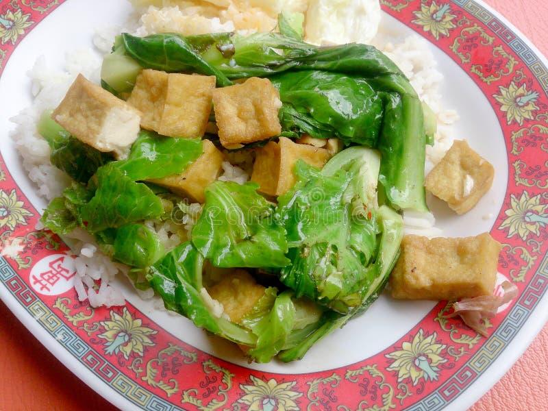 Frittura vegetariana di scalpore con il riso tailandese del gelsomino, alimento vegetariano, alimento sano immagini stock