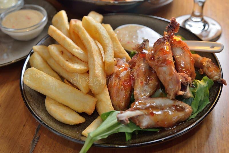 Fritture di Honey Chicken Wings French fotografia stock