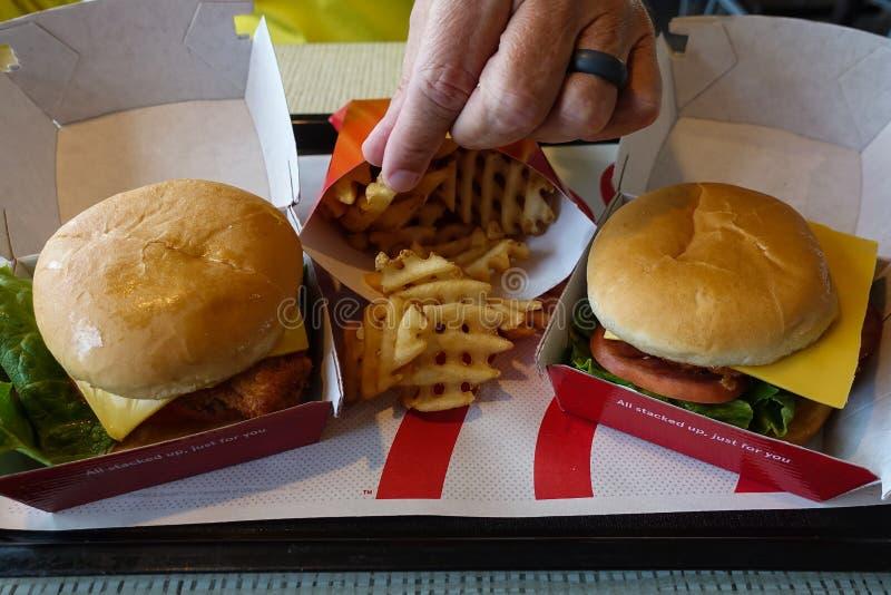 Fritture mangiarici di uomini ad un fast food immagine stock