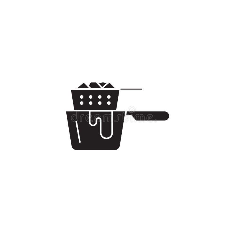 Fritura cozinhando o ícone do conceito do vetor do preto da bandeja Fritando cozinhando a ilustração lisa da bandeja, sinal ilustração royalty free