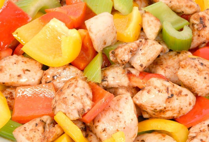 Friture de Stir de poulet images stock