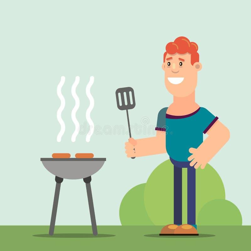 Fritures d'homme sur le barbecue illustration stock