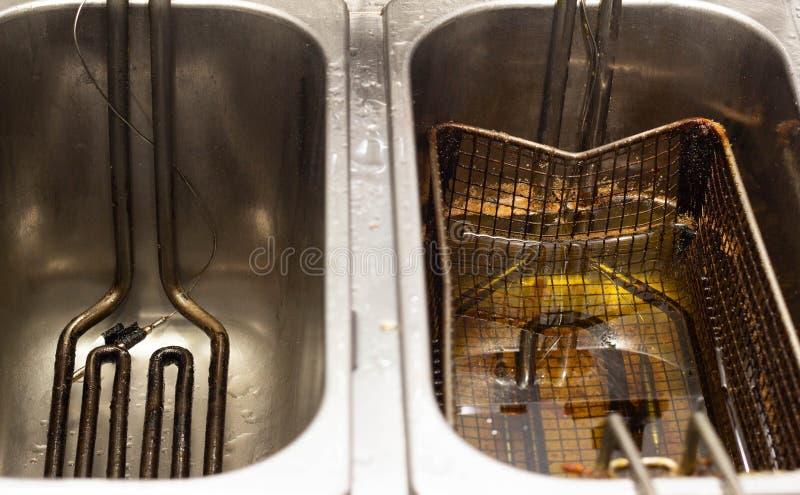 Frituurpan met olie voor het koken van frieten, aardappelplakken en dorp close-upvoedsel royalty-vrije stock foto's