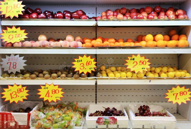 Friut in supermarkt in China stock fotografie