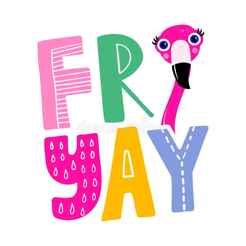 Free Friyay Friday Text Label With Flamingo Head - Motivational Quotes. Royalty Free Stock Photography - 222853287
