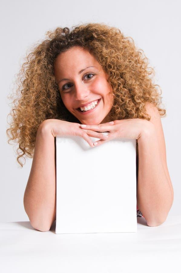 Frizzy hair girl billboard stock photography