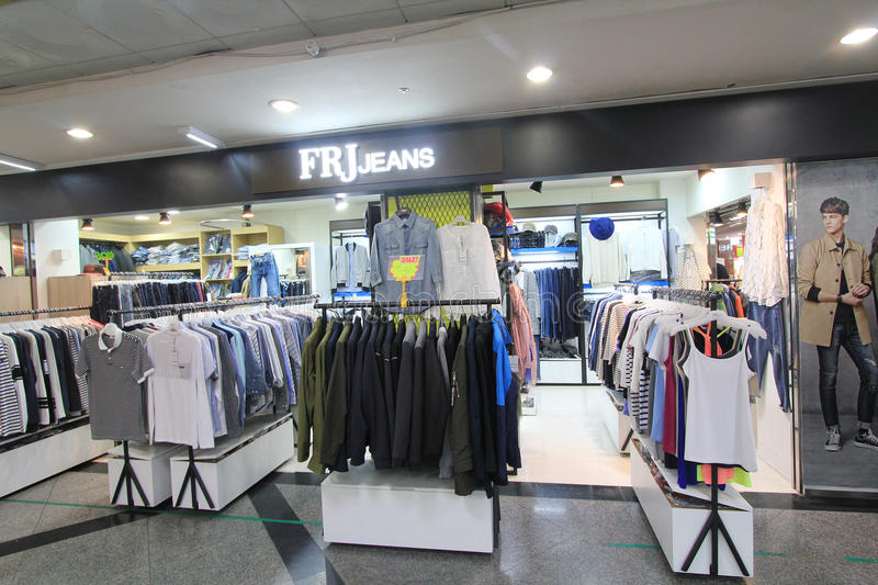 Frj jeans shop in South Korea. Frj jeans shop, located in Seoul, South Korea. frj jeans is a clothes retailer in South Korea royalty free stock image