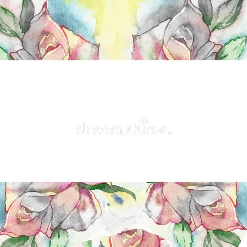 Frodig ros på en suddig vattenfärgbakgrund Original- vattenfärgram för härliga designinbjudningar, hälsningkort, affischer royaltyfri illustrationer