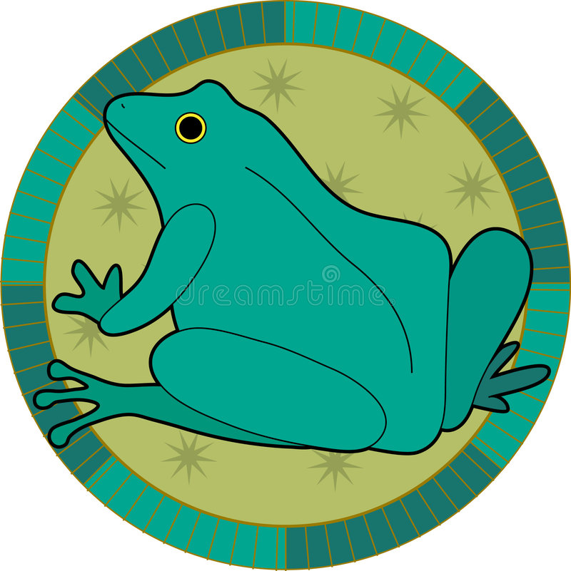 Frog. Decorative frog with stars in a circle royalty free illustration
