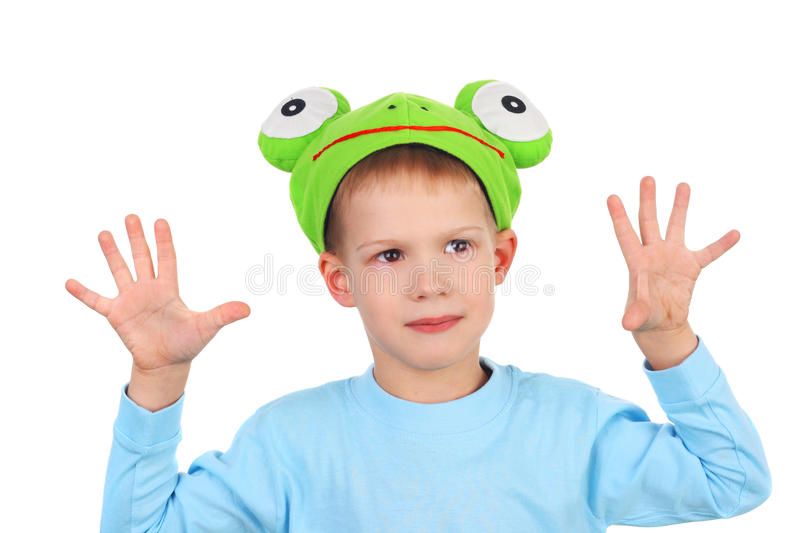 Frog. Cute little boy in the costume of the frog royalty free stock images