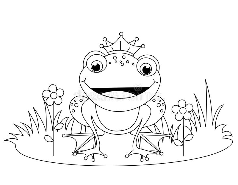 Frog. Coloring book illustration of a cute little happy frog prince with a crown