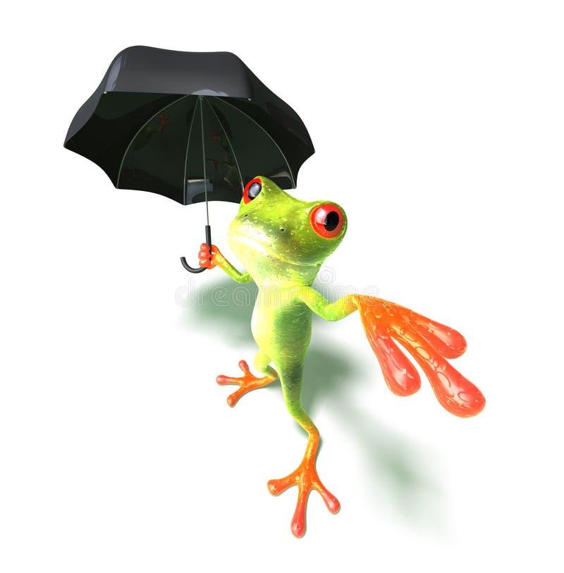 Frog afraid of rain royalty free illustration
