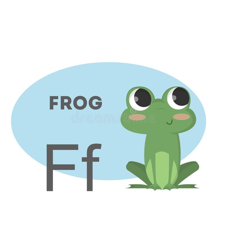 Frog on alphabet. Letter F with funny animal vector illustration