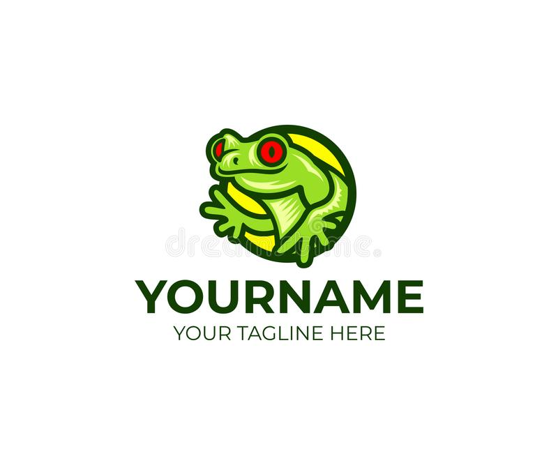 Frog and amphibian logo template. Red-eyed tree frog and toad vector design. Tropical animal illustration stock illustration