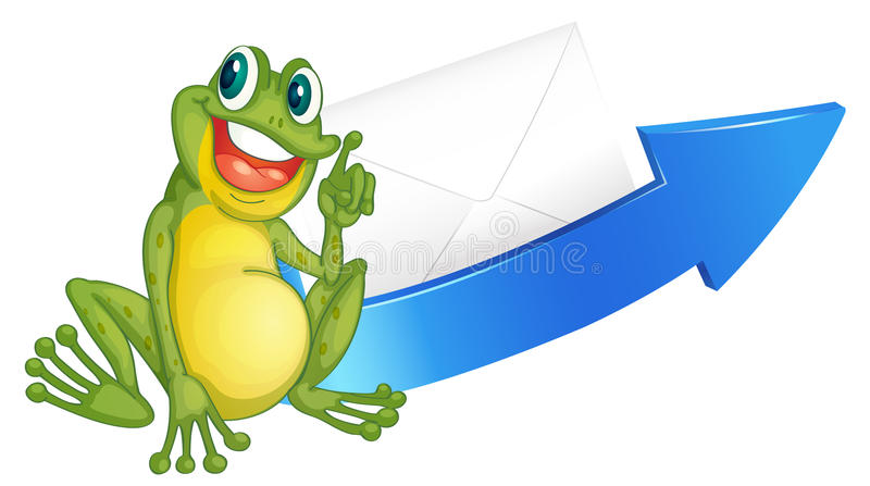 A frog and arrow. Illustration of a frog and arrow on a white background royalty free illustration
