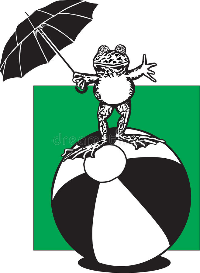 Frog on a Beach Ball. Vector illustration of a frog holding an umbrella and waving, while balancing on a beach ball vector illustration