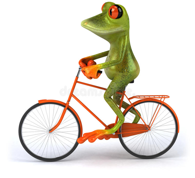 Frog with a bicycle. Cute little frog , 3D generated