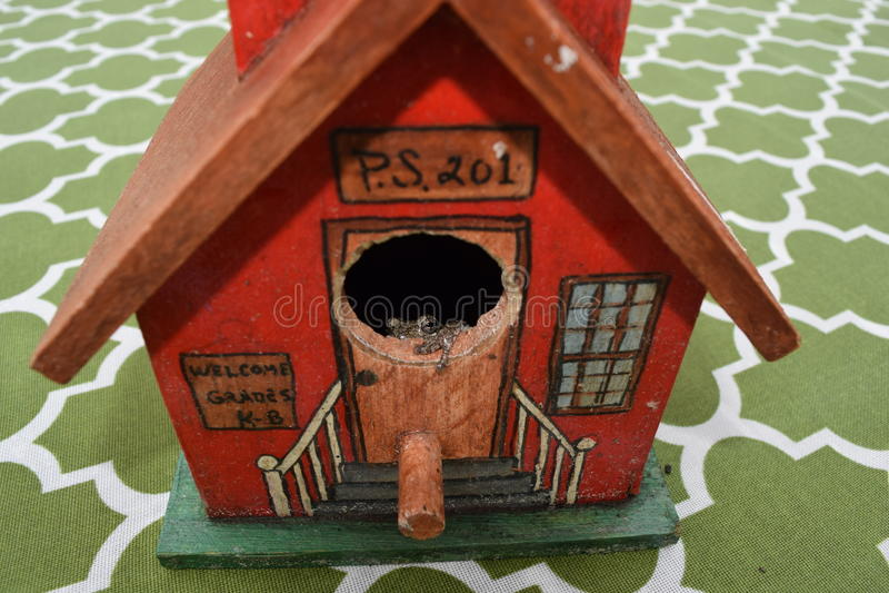 Frog in Bird House stock photos